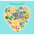 Summer vacation heart composition icon poster vector image vector image