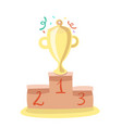trophy cup flat cartoon icon vector image