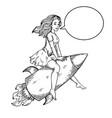 woman flying rocket engraving vector image vector image