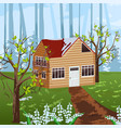 wood house spring season backgrounds vector image