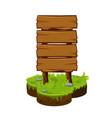wood sign board wooden panels on cartoon island vector image vector image