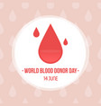 world blood donor day card vector image vector image