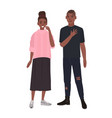 young romantic african american couple smiling vector image vector image