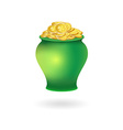 Pot with Golden Coins vector image