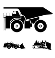 Symbol and a bulldozer and dump truck vector image