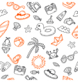 Hand drawn seamless summer pattern with beach vector image