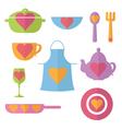 set flat icon of kitchen vector image