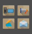 4 icons envelope megaphonecolud and vector image vector image