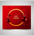 abstract golden frame with red christmas balls vector image vector image