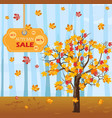 autumn tree fall sales background flat vector image