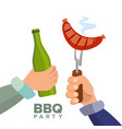barbecue party concept cooked hot sausage vector image vector image