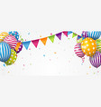 birthday balloon with colorful confetti vector image vector image