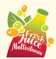 bottle with inscription fresh juice multivitamin vector image vector image