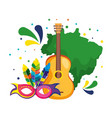 brazilian map with guitar and mask vector image vector image