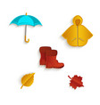 cartoon autumn symbol objects set isolated vector image vector image