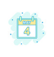 cartoon colored may 4 calendar icon in comic vector image