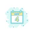 cartoon colored may 4 calendar icon in comic vector image vector image