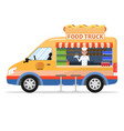 cartoon food truck with male salesman vector image vector image