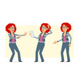cartoon redhead hippie woman character set vector image vector image