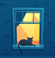 cat lying in lit up city apartment open window at vector image vector image