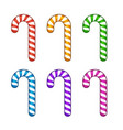 Color Candy Cane Set Isolated on White Background vector image vector image