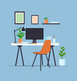 creative workplace with computer monitor empty no vector image vector image