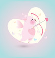 cupid pig with arrow and bow vector image vector image