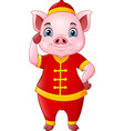 cute pig cartoon wearing chinese traditional costu vector image vector image