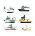 fishing boats marine sailing transport vector image vector image