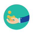 flat business hand getting coins in green circle vector image