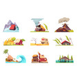 flat environmental incidents set vector image vector image