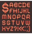 Font from reddish scotch tape - Roman alphabet vector image vector image