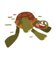 funny turtle running fast tortoise animal cartoon vector image