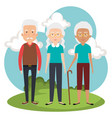 grandparents group in the park avatars vector image vector image