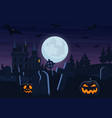 halloween spooky graveyard flat background vector image