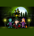 happy halloween kids outdoors with haunted house b vector image