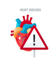 heart diseases concept in flat style vector image vector image