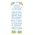 holiday card made hand lettering joy to world vector image