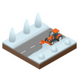 isometric bulldozer cleans from the road old snow vector image vector image