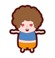 line color boy with curly hair and in love face vector image