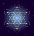 metatron cube symbol on a starry sky elements of vector image vector image