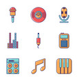 music player icons set flat style vector image vector image