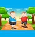 overweight kids running vector image