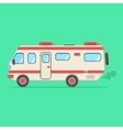 red and beige travel camper van isolated on green vector image