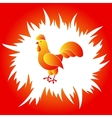 Red and yellow rooster in a red fire frame vector image vector image