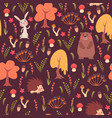 seamless animal pattern in forest vector image vector image