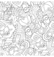 Seamless pattern of original doodle hearts vector image vector image