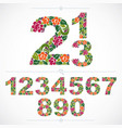 set of beautiful numbers decorated with herbal vector image