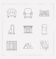set of interior icons line style symbols with wall vector image
