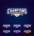 set of the champion sports league logo emblem vector image